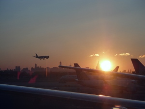 I did get to witness a spectacular Sun rising behind the Empire State building.